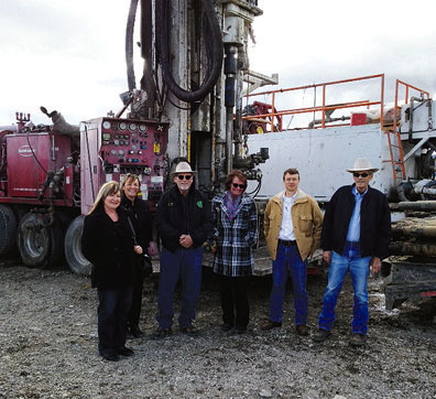 THE MODOC COUNTY Board of Supervisors visit the geothermal well drilling site at the Surprise Valley Hot Springs, just as the second test hole is finished. Left to right are: Patricia Cullins, Geri Byrne, Jim Wills, Kathie Rhoads, CEO Chester Robertson, and David Allan. Modoc County Record