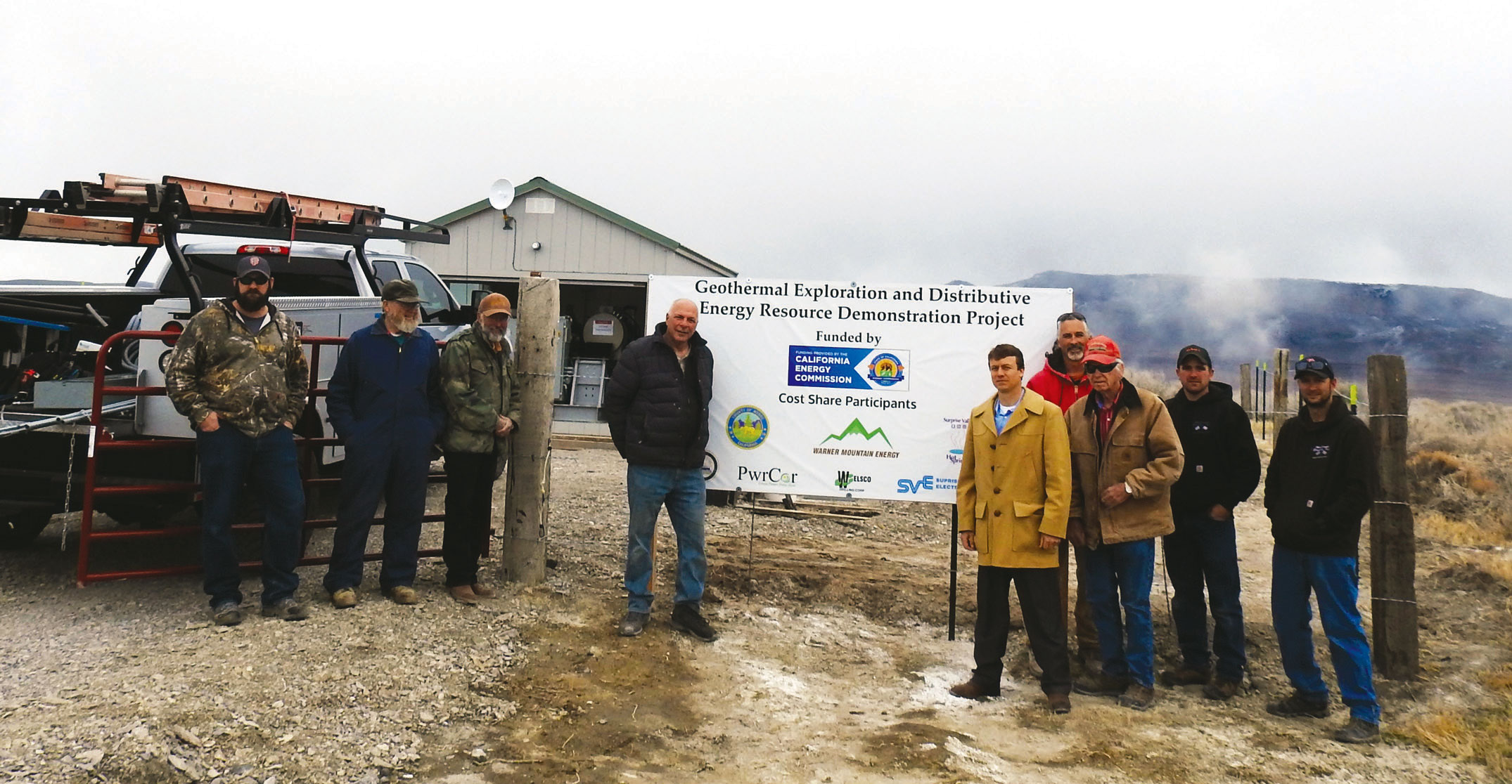 TAKING PART in the initial startup for the new geothermal equipment were, left to right: John Minto, SV Electric distribution engineer; Sid Erwin, electrical engineer; Dr. Roy Mink, Warner Mountain Energy; Peter Fazio owner of PwrCor; Chester Robertson, Modoc County CEO; Curt Rose, WME; Ken Rose, owner of SV Hot Springs Resort; Shawn Sherer with McCombs Electric; and Dane McCombs, McCombs Electric. Modoc County Record