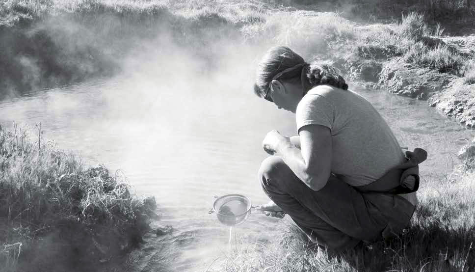 LISA KUSCU, head geologist and project manager of Warner Mountain Energy washes drilling mud from a sample taken from 600 feet. Modoc County Record