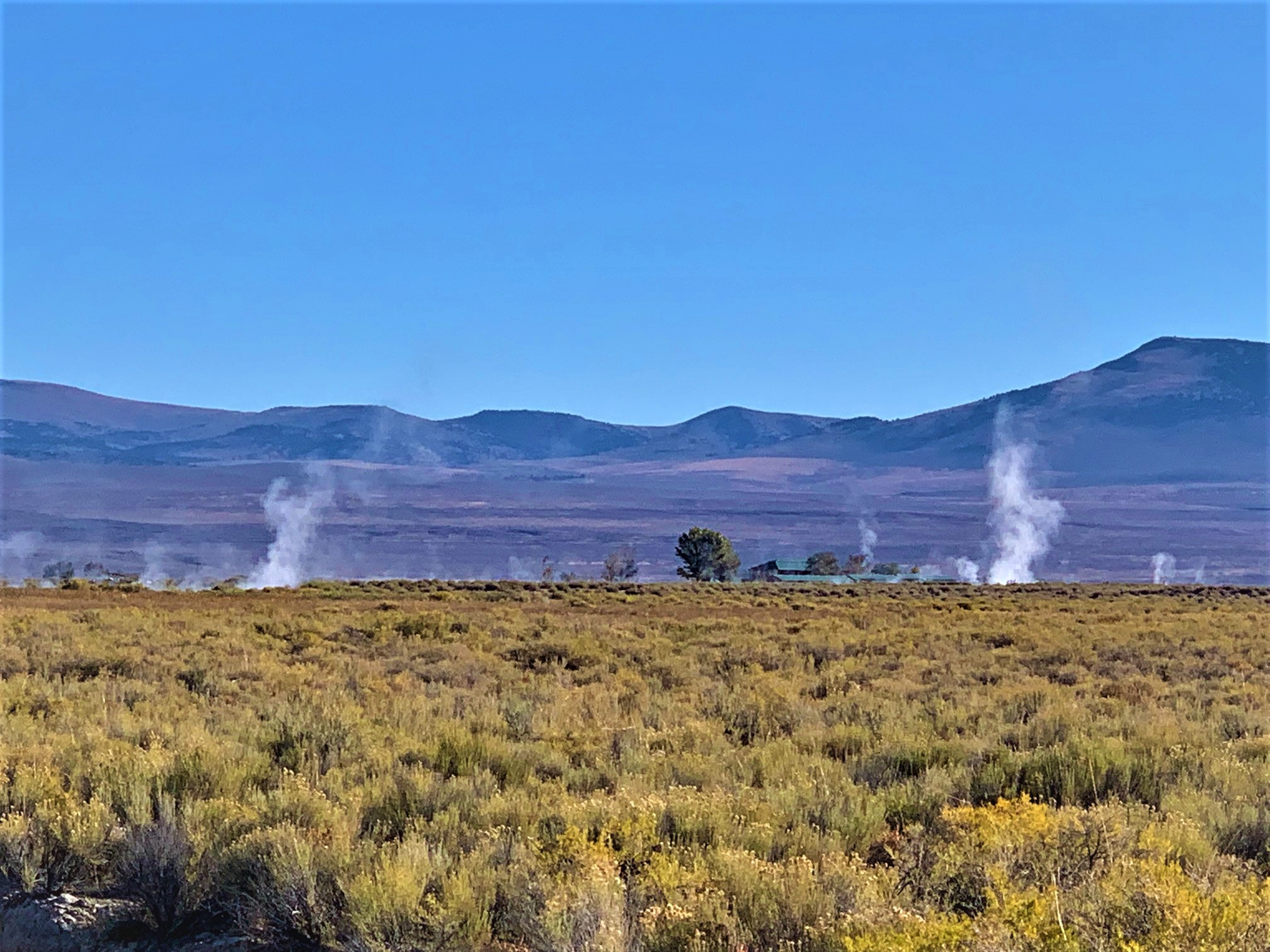 hot spring in distance